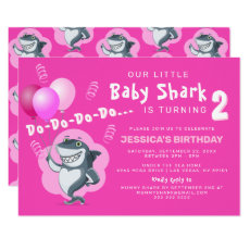 Cute Baby Shark | Pink Balloons Birthday Invitation