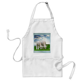 Cute Baby Sheep in a Field with Beautiful Puffy Cl Adult Apron