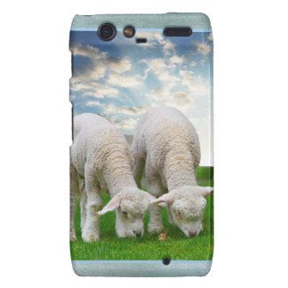 Cute Baby Sheep in a Field with Beautiful Puffy Cl Motorola Droid RAZR Case