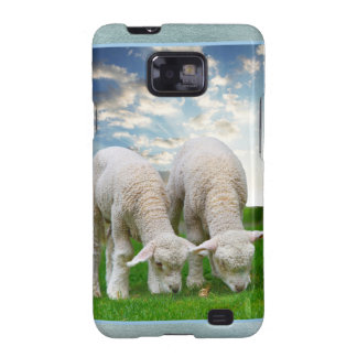 Cute Baby Sheep in a Field with Beautiful Puffy Cl Galaxy S2 Covers