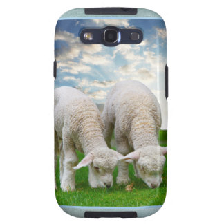 Cute Baby Sheep in a Field with Beautiful Puffy Cl Samsung Galaxy SIII Cases