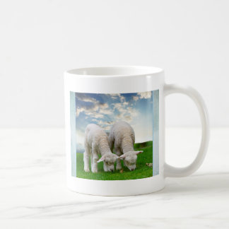 Cute Baby Sheep in a Field with Beautiful Puffy Cl Coffee Mug
