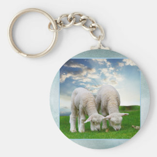 Cute Baby Sheep in a Field with Beautiful Puffy Cl Key Chains