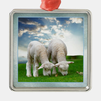 Cute Baby Sheep in a Field with Beautiful Puffy Cl Metal Ornament