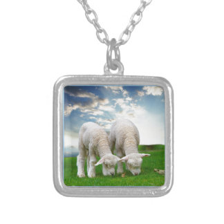 Cute Baby Sheep in a Field with Beautiful Puffy Cl Square Pendant Necklace