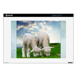 """Cute Baby Sheep in a Field with Beautiful Puffy Cl 15"""" Laptop Skins"""