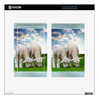 Cute Baby Sheep in a Field with Beautiful Puffy Cl Kindle Fire Decals