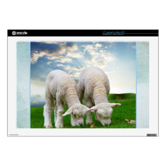 """Cute Baby Sheep in a Field with Beautiful Puffy Cl 17"""" Laptop Skins"""