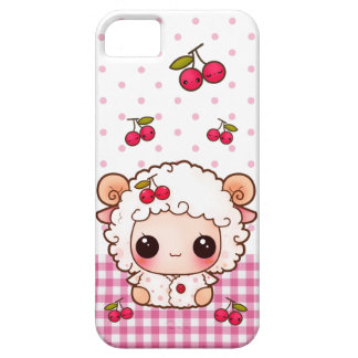 Cute baby sheep with kawaii cherries iPhone 5 cases