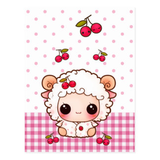 Cute baby sheep with kawaii cherries postcard