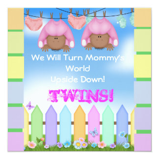 CUTE BABY SHOWER AFRICAN AMERICAN TWIN GIRLS CARD