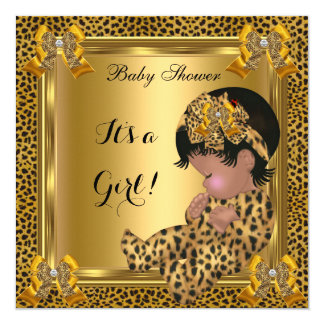 Cute Baby Shower Baby Girl Leopard Gold Card