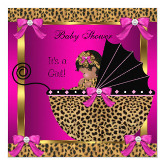 Cute Baby Shower Baby Girl Leopard Pink Gold Card