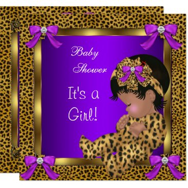 Toddler & Baby themed Cute Baby Shower Baby Girl Leopard Purple Gold 2 Card