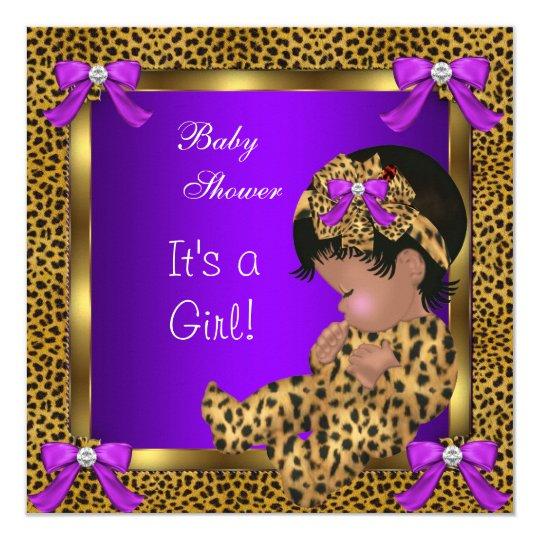 Cute Baby Shower Baby Girl Leopard Purple Gold 2 Card