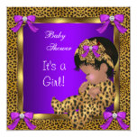 Cute Baby Shower Baby Girl Leopard Purple Gold 2 5.25x5.25 Square Paper Invitation Card