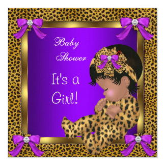 Cute Baby Shower Baby Girl Leopard Purple Gold 2 Invitation