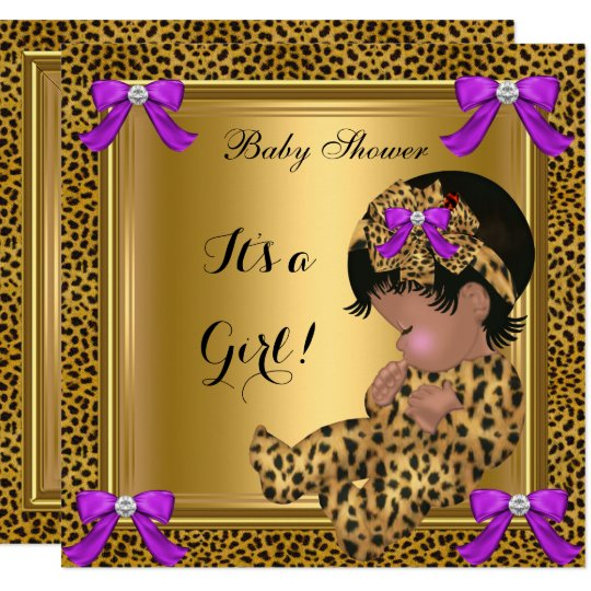 Cute Baby Shower Baby Girl Leopard Purple Gold 4 Invitation Zazzlecom
