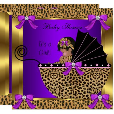 Toddler & Baby themed Cute Baby Shower Baby Girl Leopard Purple Gold Card
