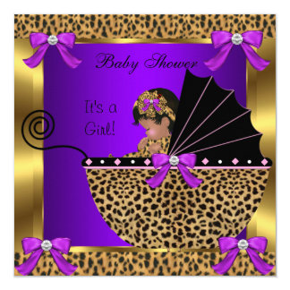 Cute Baby Shower Baby Girl Leopard Purple Gold Card