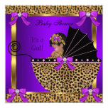 Cute Baby Shower Baby Girl Leopard Purple Pink Card