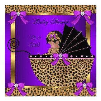 Cute Baby Shower Baby Girl Leopard Purple Pink Card