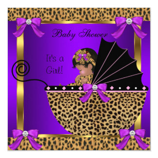 Cute Baby Shower Baby Girl Leopard Purple Pink 5.25x5.25 Square Paper Invitation Card
