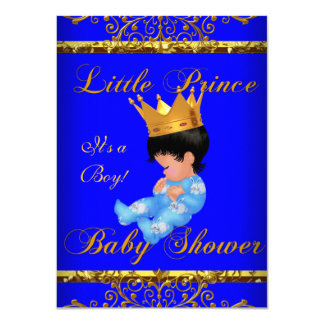 Cute Baby Shower Blue Gold Boy Prince Crown 3 4.5x6.25 Paper Invitation Card