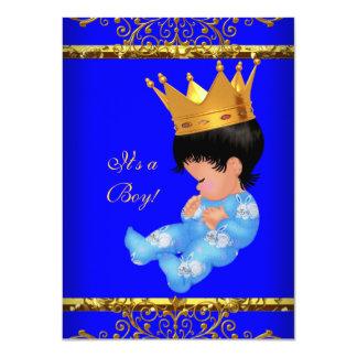 "Cute Baby Shower Blue Gold Boy Prince Crown 4 4.5"" X 6.25"" Invitation Card"
