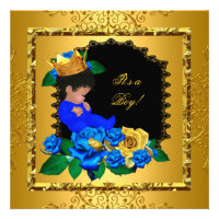 Cute Baby Shower Blue Gold Boy Prince Crown 5 Invitations