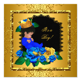 Cute Baby Shower Blue Gold Boy Prince Crown 5 5.25x5.25 Square Paper Invitation Card