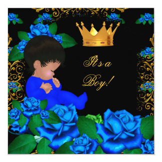 """Cute Baby Shower Blue Gold Boy Prince Crown 8 5.25"""" Square Invitation Card"""