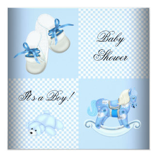 Cute Baby Shower Boy Baby Blue Booties shoes Card