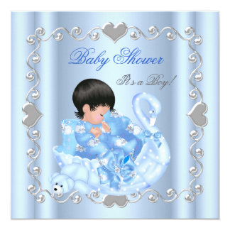 Cute Baby Shower Boy Baby Blue Swan 5.25x5.25 Square Paper Invitation Card