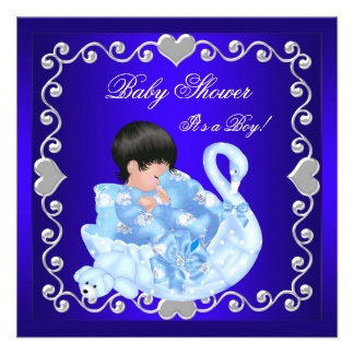Cute Baby Shower Boy Baby royal Blue Swan Invites