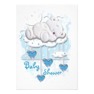 Cute baby shower boys bear invite