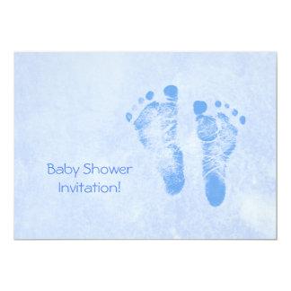 Cute Baby Shower For Boy Blue Baby Feet Card