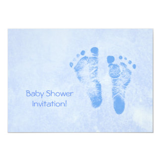 Cute Baby Shower For Boy Blue Baby Feet Invites