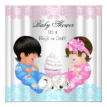 Cute Baby Shower Gender Reveal Couples 5.25x5.25 Square Paper Invitation Card