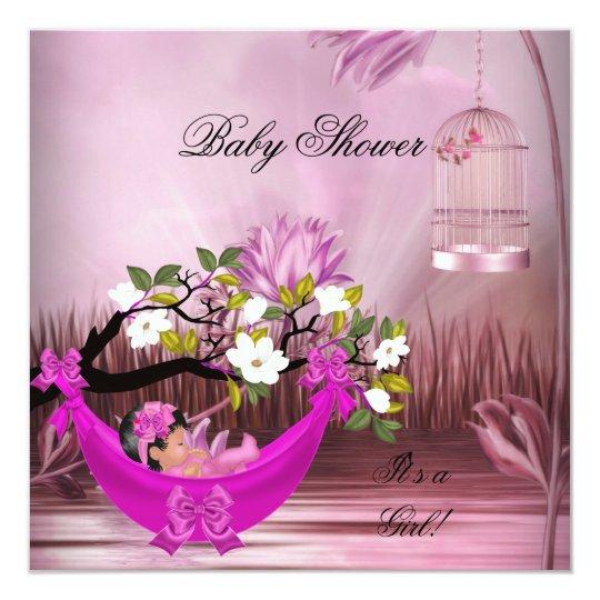 Cute Baby Shower Girl Baby Hot Pink Hammock Magica Card