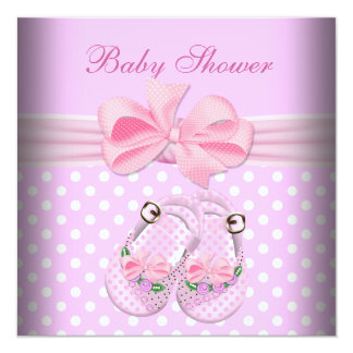 Cute Baby Shower Girl Baby Pink Booties Shoes 5.25x5.25 Square Paper Invitation Card