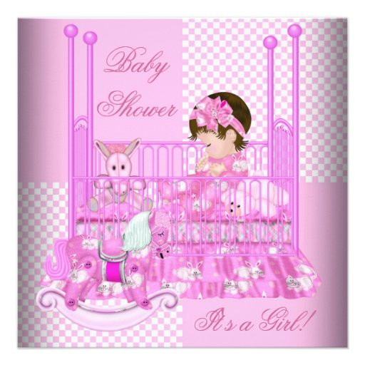 Cute Baby Shower Girl Baby Pink Crib 5.25x5.25 Square Paper Invitation Card | Zazzle