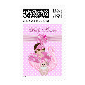 Cute Baby Shower Girl Baby Pink Swan Stamps
