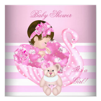 Cute Baby Shower Girl Baby Pink White Swan Card