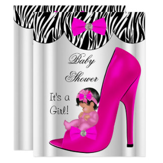 Cute Baby Shower Girl Hot Pink Baby Shoe Card