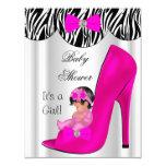 Cute Baby Shower Girl Hot Pink Baby Shoe Card