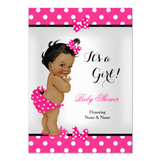 Cute Baby Shower Girl Hot Pink Black Ethnic 5x7 Paper Invitation Card