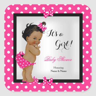 Cute Baby Shower Girl Hot Pink Black Ethnic Square Sticker