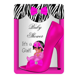 Cute Baby Shower Girl Hot Pink Ethnic Baby Shoe 2E 5x7 Paper Invitation Card