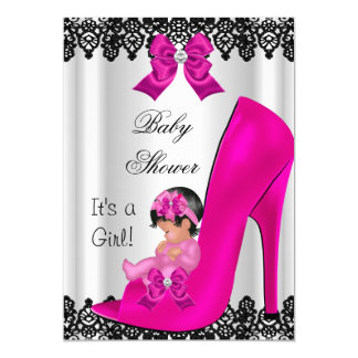 Cute Baby Shower Girl Hot Pink Shoe Black Lace 5x7 Paper Invitation Card